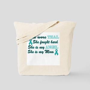 She is Mom Angel Teal Tote Bag