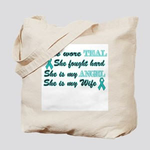 She is my Wife Teal Angel Tote Bag