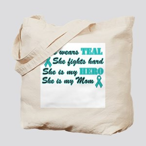 She is a Mom and Hero Teal Tote Bag