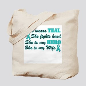 She is a Wife and Hero, Teal Tote Bag