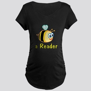 Book Reading Maternity Dark T-Shirt