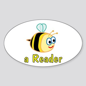 Book Reading Oval Sticker