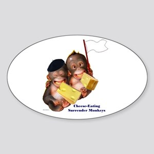Cheese Eating Surrender Monkeys I Oval Sticker