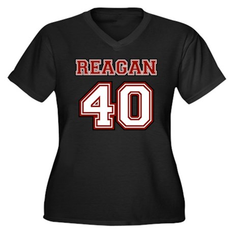 Reagan #40 Women's Plus Size V-Neck Dark T-Shirt