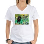 Irises / Schipperke #2 Women's V-Neck T-Shirt