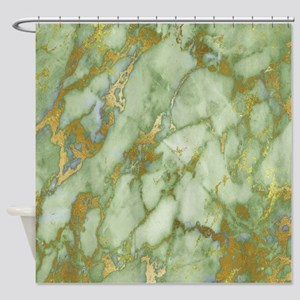 Mint Green Gold Marble Shower Curtain