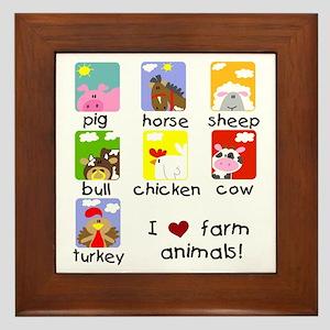 I Love Farm Animals Framed Tile