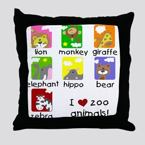 I Love Zoo Animals Throw Pillow