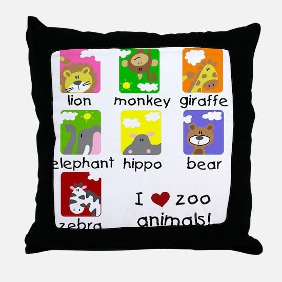 I Love Zoo Animals Throw Pillow