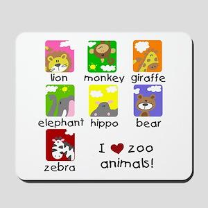 I Love Zoo Animals Mousepad