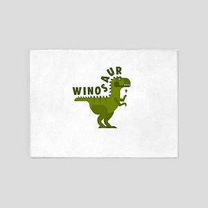 Winosaur Wine Drinking Dinosaur 5'x7'Area Rug