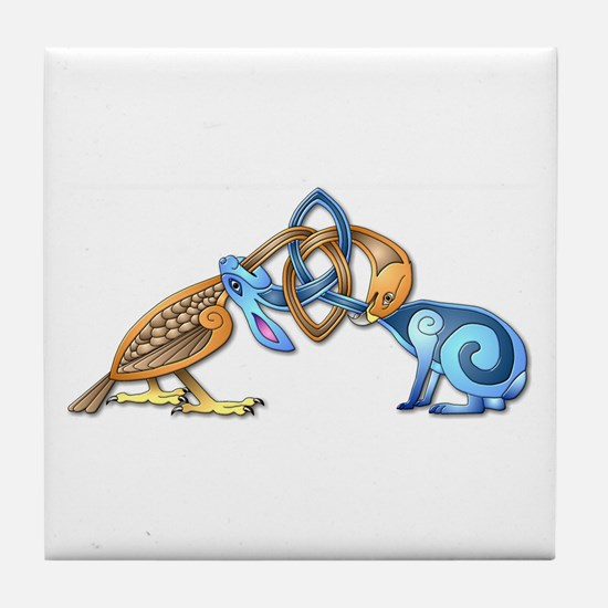 Celtic Bird & Rabbit Tile Coaster