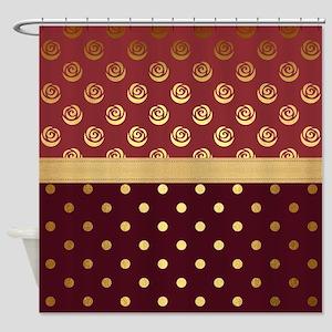 Burgundy Polka Dot Gold Rose Shower Curtain