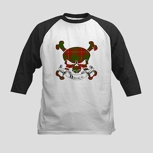 Bruce Tartan Skull Kids Baseball Jersey