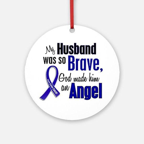 Angel 1 HUSBAND Colon Cancer Ornament (Round)