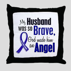 Angel 1 HUSBAND Colon Cancer Throw Pillow