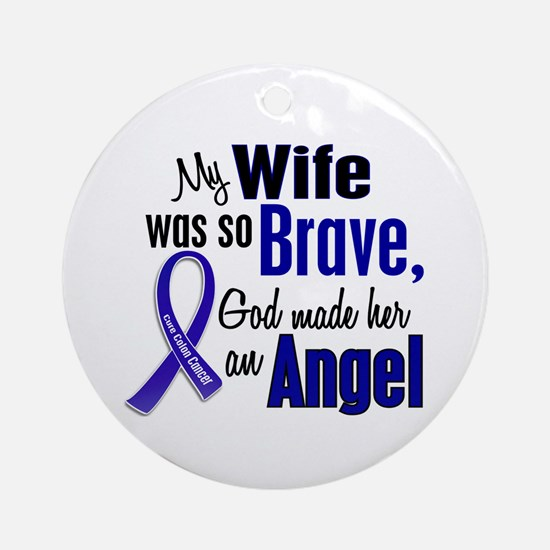 Angel 1 WIFE Colon Cancer Ornament (Round)
