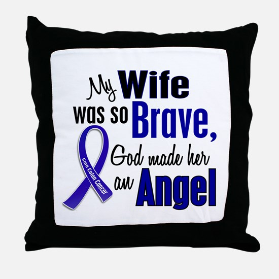 Angel 1 WIFE Colon Cancer Throw Pillow