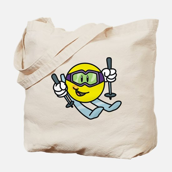Smile Face Skiing Tote Bag