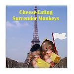 French Cheese Eating Surrender Monkeys Tile Coaste