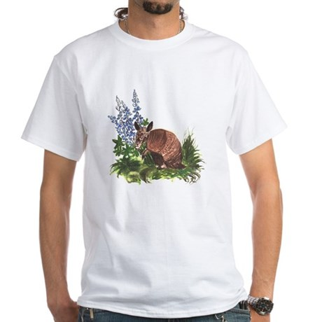 Armadillo with Bluebonnets White T-Shirt