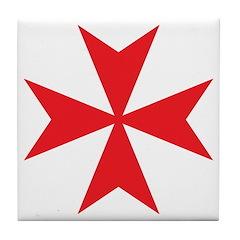 Red Maltese Cross Tile Coaster