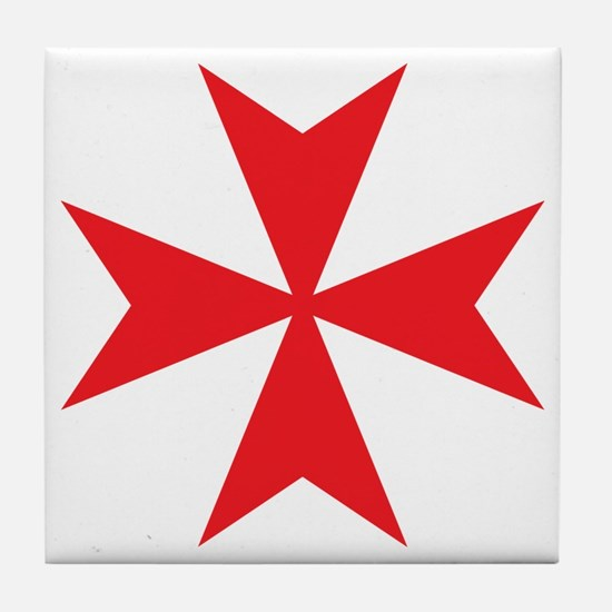 Red Maltese Cross Tile Coaster