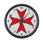 Red Maltese Cross Large Wall Clock