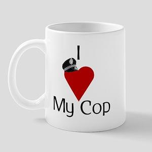 I Love (heart) My Cop (policeman hat) Mug