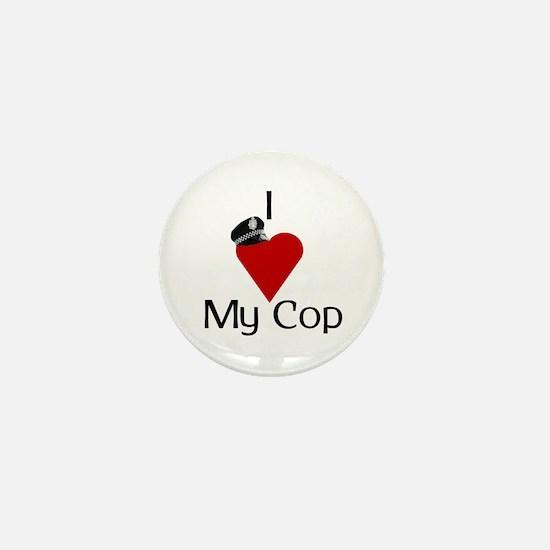 I Love (heart) My Cop (policeman hat) Mini Button