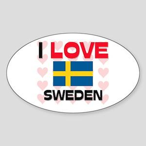I Love Sweden Oval Sticker