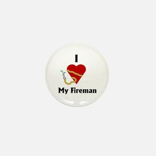 I Love (heart) My Fireman (hose) Mini Button