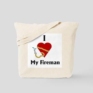 I Love (heart) My Fireman (hose) Tote Bag