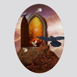 Mystical door in the universe Oval Ornament