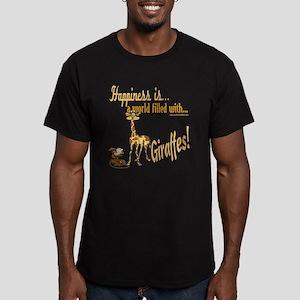 Happiness is a giraffe Men's Fitted T-Shirt (dark)