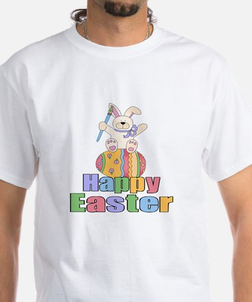 Happy Easter Artist Bunny White T-Shirt