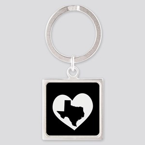 Texas In Heart Square Keychain