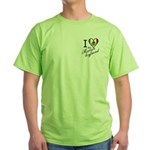Two Sides Printed Design Green T-Shirt