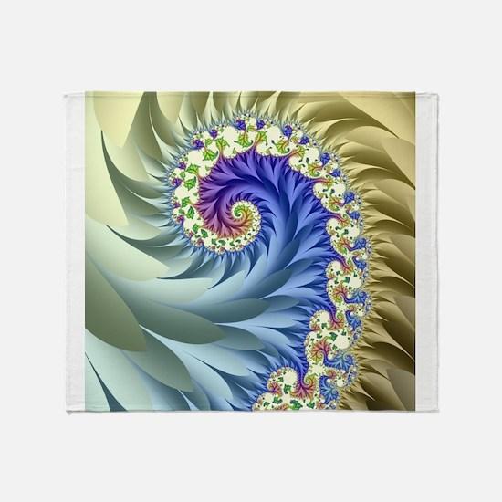 Feathered Mandelbrot Spiral Throw Blanket