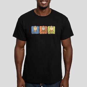 Monkey Trio Men's Fitted T-Shirt (dark)