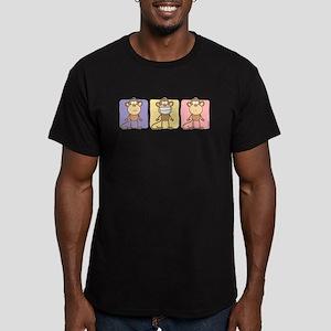 Monkey Trio Pastel Men's Fitted T-Shirt (dark)