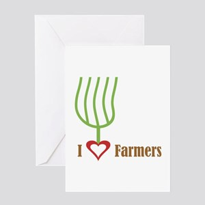 I Heart Farmers Greeting Card