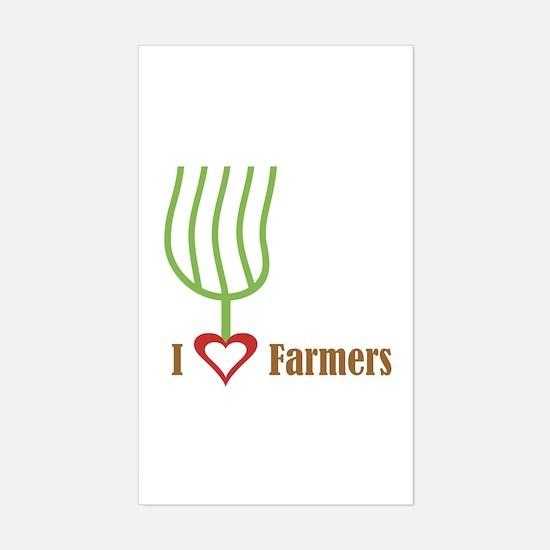 I Heart Farmers Rectangle Decal