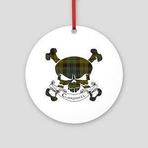Campbell Tartan Skull Ornament (Round)