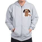 Brown Puppy Zip Hoodie