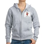 Football Nut (red) Women's Zip Hoodie