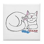 White ASL Kitty Tile Coaster