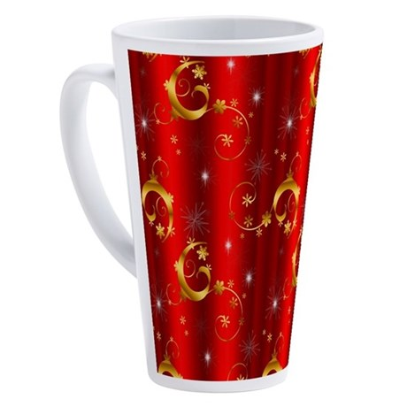 Red and Gold Christmas 17 oz Latte Mug
