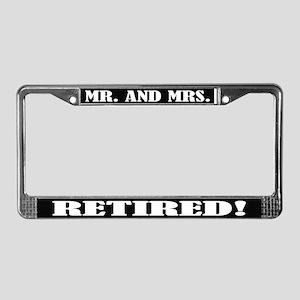 Mr and Mrs Retired License Plate Frame