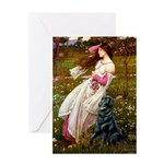 Windflowers / Flat Coated Ret Greeting Card